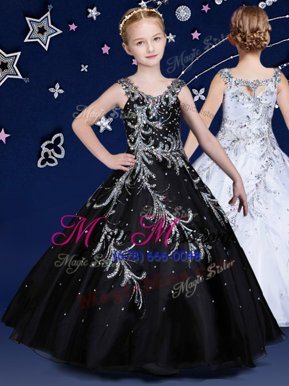 Excellent Scoop Black Ball Gowns Beading Little Girl Pageant Gowns Zipper Organza Sleeveless Floor Length