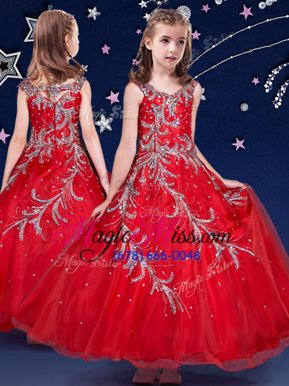 Elegant Scoop Red Zipper Kids Formal Wear Beading and Appliques Sleeveless Ankle Length