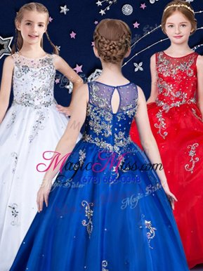Cute Scoop Sleeveless Organza Floor Length Zipper Little Girls Pageant Dress in White and Red and Royal Blue for with Beading