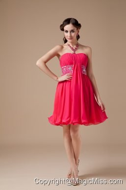 Red Empire Strapless Mini-length Chiffon Beading Prom Dress