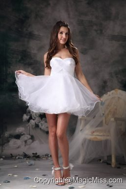 White A-line Sweetheart Mini-length Organza Prom Dress