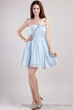 Light Blue Empire One Shoulder Mini-length Chiffon Prom / Homecoming Dress