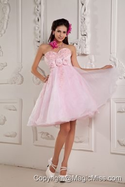 Baby Pink A-line / Princess Sweetheart Mini-length Organza Beading and Appliques Prom Dress