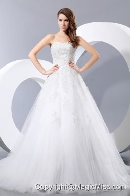 Simple A-line Sweetheart Chapel Train Taffeta and Tulle Wedding Dress