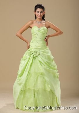 Yellow Indianapolis Green Hand Made Folwers and Ruched Bodice In Indianapolis For Prom Dress