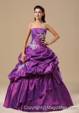 Ann Arbor Appliques Decorate Bodice Strapless Pick-ups Purple Floor-length 2013 Prom / Pageant Dress