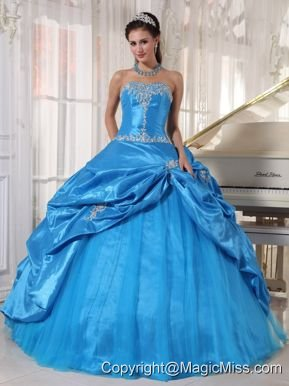 Blue Ball Gown Strapless Floor-length Taffeta and Tulle Appliques Quinceanera Dress