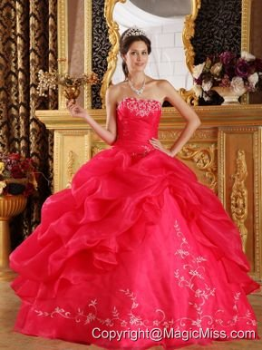 Coral Red Ball Gown Strapless Floor-length Embroidery Organza Quinceanera Dress