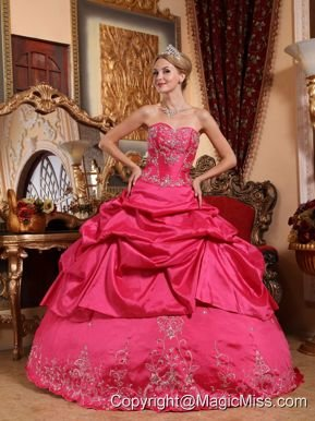 Hot Pink Ball Gown Sweetheart Floor-length Taffeta Embroidery with Beading Quinceanera Dress