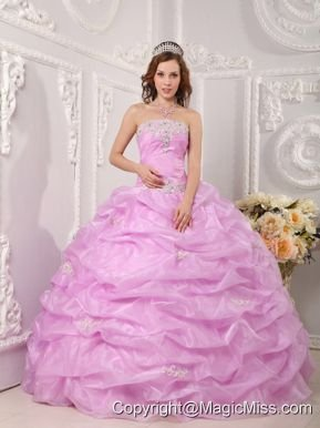Exclusive Ball Gown Strapless Floor-length Organza Appliques Rose Pink Quinceanera Dress
