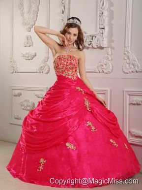 Hot Pink Ball Gown Strapless Floor-length Organza Appliques Quinceanera Dress