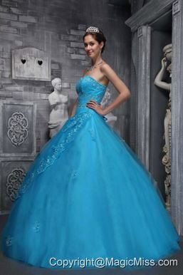 Baby Blue Ball Gown Sweetheart Floor-length Taffeta and Tulle Beading and Appliques Quinceanera Dress