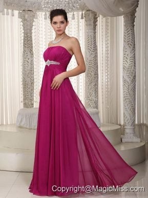 Popular Empire Strapless Floor-length Chiffon Beading Prom / Party Dress