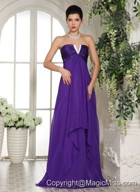 Stylish V-neck Eggplant Purple 2013 Prom Celebrity Dress With Ruch In Oklahoma