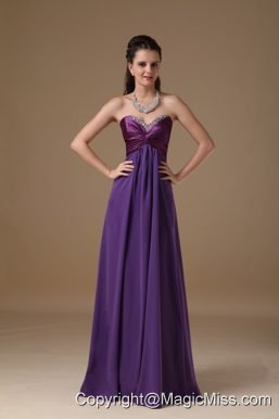 Purple Empire Sweetheart Floor-length Taffeta and Chiffon Beading Prom Dress