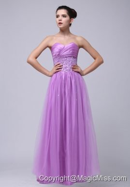 2013 Lavender Beaded Decorate and Ruch Sweetheart Prom Dress With Tulle