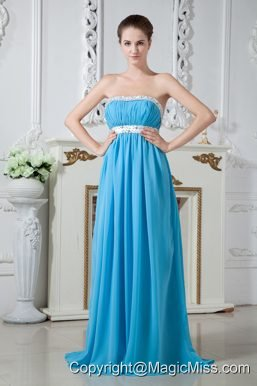 Sexy Aqua Blue Strapless Chiffon Beading Prom Dress Brush Train
