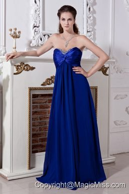 Royal Blue Empire Sweetheart Floor-length Chiffon Beading Prom Dress