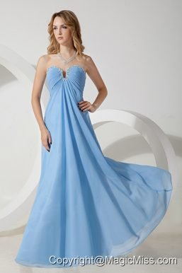 Baby Blue Empire Sweetheart Floor-length Chiffon Beading Prom / Evening Dress