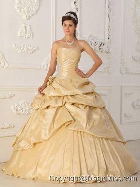 f93f2b55985 Champagne A-Line   Princess Strapless Floor-length Taffeta Beading Quinceanera  Dress
