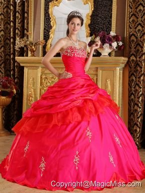 Red Ball Gown Sweetheart Floor-length Taffeta Beading Quinceanera Dress