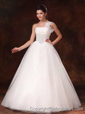 One Shoulder Organza Bowknot Beaded Hottest Wedding Dress