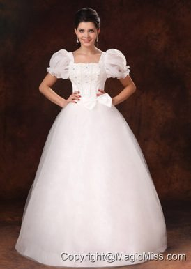 Bubble Sleeve Square Neck A-Line Bowknot Wedding Dress For 2013 Custom Made