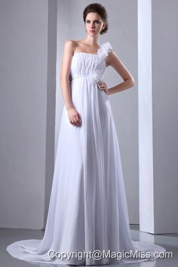 Simple A-line One Shoulder Court Train Chiffon Ruch Wedding Dress