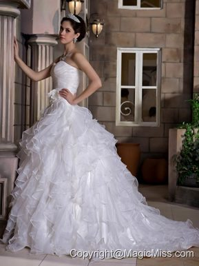 Romantic A-line Sweetheart Court Train Taffeta and Organza Ruffles Hand Made Flowers Wedding Dress