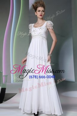 Extravagant White Scoop Neckline Beading and Lace Prom Party Dress Sleeveless Zipper
