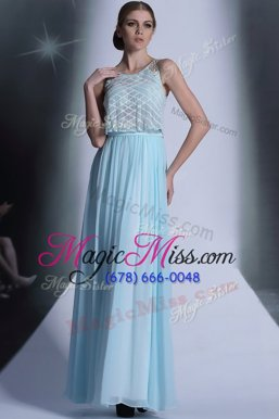 Adorable Baby Blue Scoop Side Zipper Lace Prom Dress Sleeveless