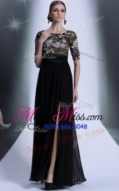 Excellent Scoop Half Sleeves Zipper Mother Of The Bride Dress Black Chiffon