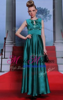 Nice Scoop Teal Column/Sheath Belt Evening Dresses Side Zipper Chiffon Sleeveless Floor Length