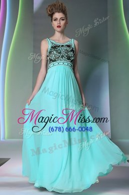 Scoop Sleeveless Side Zipper Homecoming Dress Turquoise Chiffon
