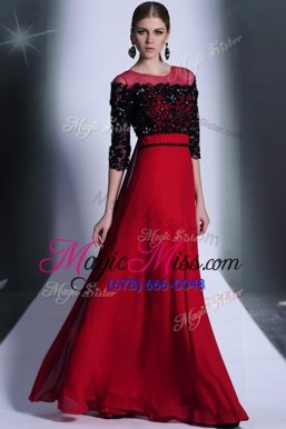 Glorious Scoop Floor Length Wine Red Evening Outfits Chiffon 3|4 Length Sleeve Beading and Appliques
