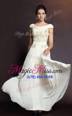 Graceful White Cap Sleeves Floor Length Beading Side Zipper Prom Evening Gown