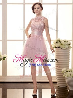 Enchanting Sleeveless Mini Length Lace Zipper Prom Party Dress with Baby Pink