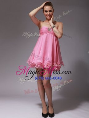 Rose Pink Zipper Dress for Prom Ruching Sleeveless Mini Length