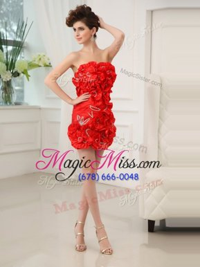 Fantastic Red Chiffon Zipper Cocktail Dress Sleeveless Mini Length Beading and Hand Made Flower