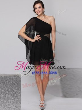 Gorgeous One Shoulder Black Empire Sequins Prom Dress Side Zipper Chiffon Half Sleeves Knee Length