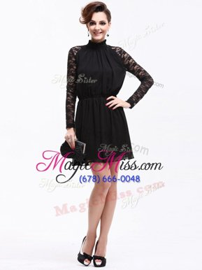 Designer Black Sleeveless Knee Length Lace Zipper Mother Of The Bride Dress
