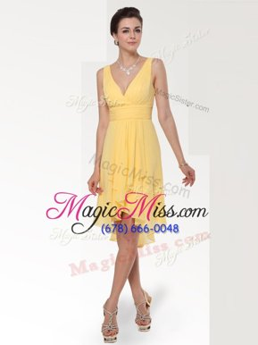 Custom Design Ruching Hoco Dress Yellow Zipper Sleeveless Knee Length
