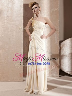 Elegant Champagne Empire Chiffon One Shoulder Sleeveless Beading Floor Length Side Zipper Prom Dress