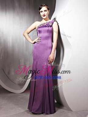 Lavender Satin Side Zipper One Shoulder Sleeveless Floor Length Juniors Evening Dress Beading