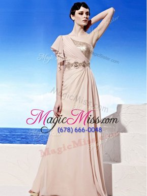 Elegant Sequins Floor Length Peach Prom Evening Gown One Shoulder Sleeveless Side Zipper