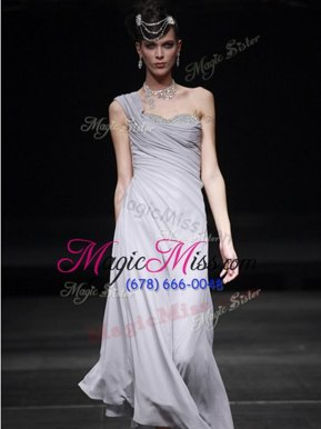 High Quality Floor Length Silver Dress Like A Star Sweetheart Sleeveless Side Zipper