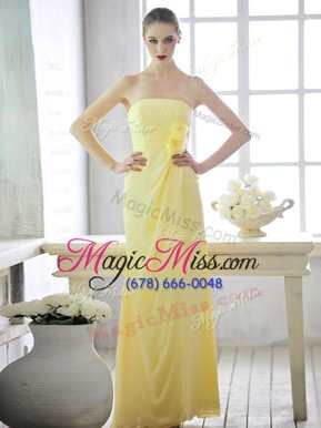 Chic Light Yellow Lace Up Evening Dress Hand Made Flower Sleeveless Floor Length