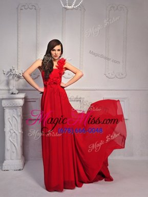One Shoulder With Train Lace Up Junior Homecoming Dress Red and In for Prom and Party with Hand Made Flower Court Train