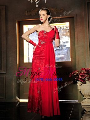 Red Sweetheart Neckline Beading and Ruching Prom Party Dress Sleeveless Lace Up