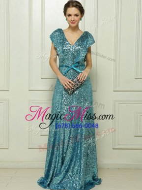 Sexy Sleeveless Floor Length Sequins and Bowknot Zipper Mother Of The Bride Dress with Teal